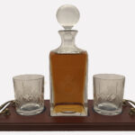2 Engraved Glass Decanter Crystal 4