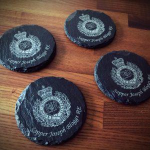 Slate Cap Badge Coasters